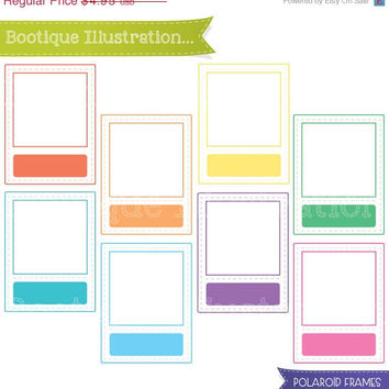 75% OFF Polaroid Frames Clipart Set. Rainbow Ouline Frames Clipart Digial Graphics for Personal and Commercial Use* Png, Jpeg, Eps Included