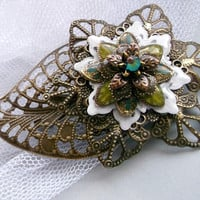 Flower brooch antique bronze brooch painted flower brooch green white brooch flower vintage brooch victorian brooch wife gift jewelry gift