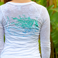 Wings Hawaii Mermaid Long Sleeve Burnout White