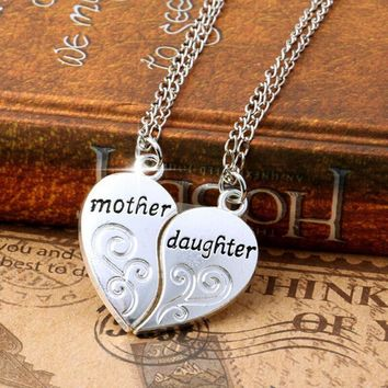 2 PC Silver Plated Mother Daughter Heart Necklace