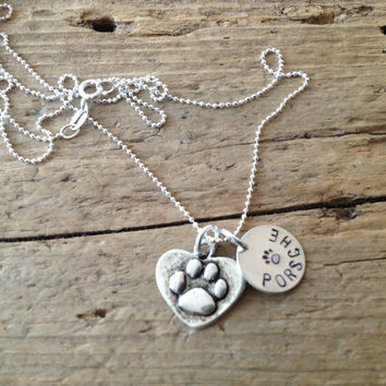 Silver Pawprint  Heart Custom Tag Necklace with Your Dogs Cats Name Pet Memorial Tribute
