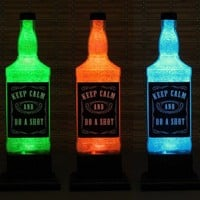 KEEP CALM Whiskey Bottle Color Changing LED Remote Controlled