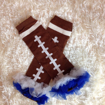 Football Cowboys Leg Warmers-Baby leg warmers/Photo Prop and ruffles Football blue and white