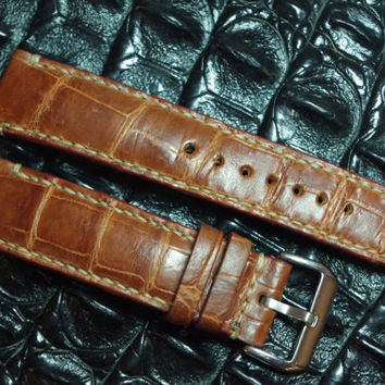20 mm Genuine Brown Alligator Leather Watch Strap, Custom Made Strap