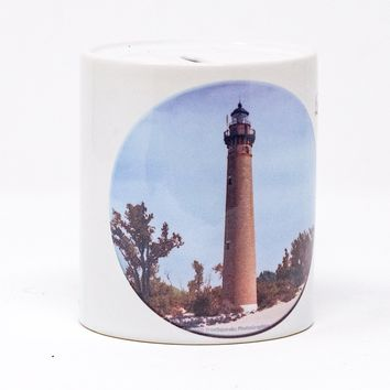 Little Sable Michigan Lighthouse Design Coin Bank, Ceramic