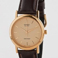American Apparel MTP-1095Q-9A Casio Analog Leather Strap Watch