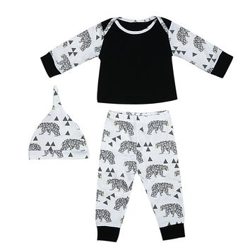 Baby Winter Clothing Set Kids Boys Girls Bear Printed Long Sleeve T-Shirt + Pants + Hat Outfits