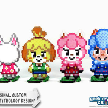 Animal Crossing Characters - Custom Perler Bead Sprite Figures with Leaf Stands
