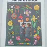 Vintage Simplicity Pattern 7516 Uncut Southwestern Embroidery Craft Fabric Stitching Stamping Transfers 28 Different Designs Birds Flowers