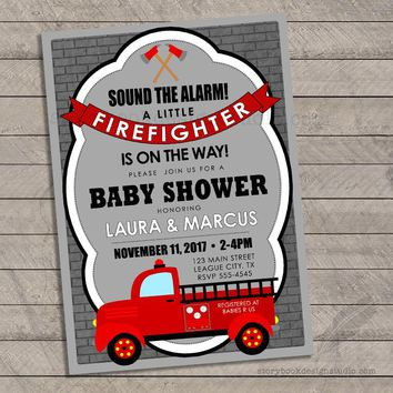 Firefighter Baby Shower Invitations