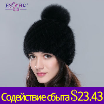 Hot sale real mink fur hat for women winter knitted mink fur beanies cap with fox fur pom poms 2015 brand new thick  female cap