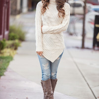 Point At You Cable Knit Turtleneck Pointed Hem Sweater (Ivory)