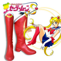 Sailor Moon Sailor Serena Tsukino Anime Cosplay Costume Red Boots Shoes CPA059F - CosplayBuzz