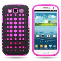EMAXCITY Brand HYBRID Dual Heavy Duty Hard BLACK DOT and Soft HOT PINK Silicone Skin Cover Case with Kickstand for SAMSUNG GALAXY S3 S III I747 / I535 / T999 / L710 / I9300 [WCS1331]