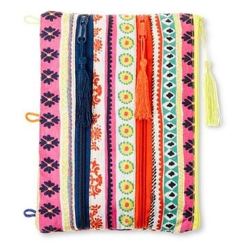 Xhilaration Three Zipper Pencil Pouch - Tribal