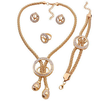 Retro Style Rhinestone Circle Lariat Necklace Bracelet Ring and Earrings