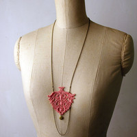lace locket necklace - MIREILLE - long- salmon pink - floral - boho - romantic fashion - gift - christmas
