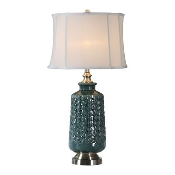 Vallon Transitional Teal Table  Lamp by Uttermost