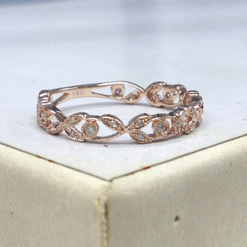 Diamond Wedding Ring 14K Rose Gold,Retro Vintage Floral,Round Cut Diamond,Art Deco Antique,3/4 Eternity Matching Band,Anniversary Fine Ring