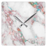 Copper Turquoise Marble Pattern Wall Clock