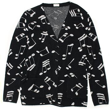 Saint Laurent Cardigan Sweater BLACK SILVER MUSIC NOTES MEDIUM M YVES YSL