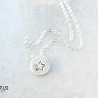 Sterling silver initial disc necklace. Personalized womens necklace. Star necklace. Heart necklace. letter necklace. Monogram necklace.
