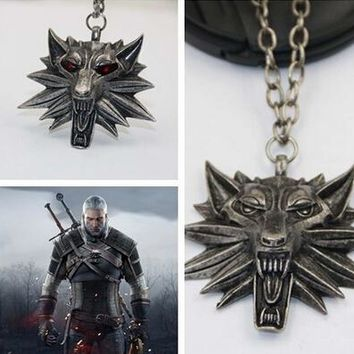 ZOSHI Hot Sale 3 Medallion Pendant Wizard Witcher Wild Hunt 3 Figure Game Wolf Head Necklace For Men