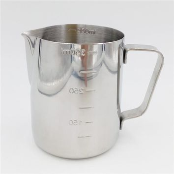 Practical Stainless Steel Espresso Coffee Pitcher Barista 350ml/600ml Kitchen Craft Scale Coffee Latte Milk Frothing Jug
