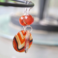 Striped Agate Circle Drop Earrings, Variegate Stone Slice Earrings, Large Dangle Earrings