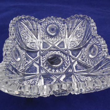Imperial Glass Bowl by Lenox, Sawtooth & Hobstar Pattern, Shiny Square Crystal Bowl