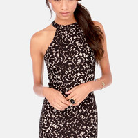 Coup de Lace Beige and Black Halter Dress