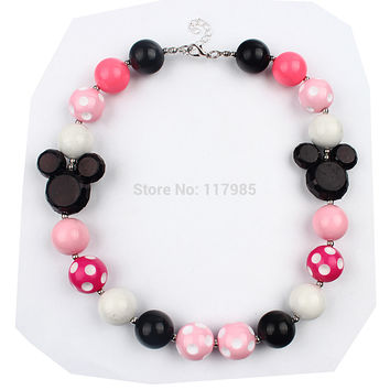 1Pc Minnie Mouse Vintage Chunky Bead Necklace Kawaii Black Pink Beaded Kids Bubblegum Necklace For Photo Props