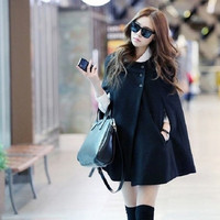 New Style Women Chic Batwing Cape Wool Poncho Coat Jacket Winter Warm Cloak Coat = 1930412164