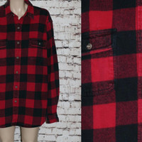 90s Flannel Shirt XL Jacket Coat Tartan Plaid Red and Black Button Up Grunge Punk Hipster Goth Festival Mens Wear Tall Oversize