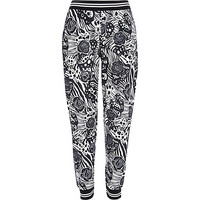 River Island Womens Black graphic print joggers