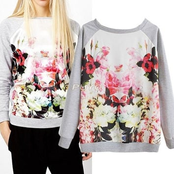 Floral Crewneck Sweatshirts Pullover Sweaters Long Sleeves = 1920183492
