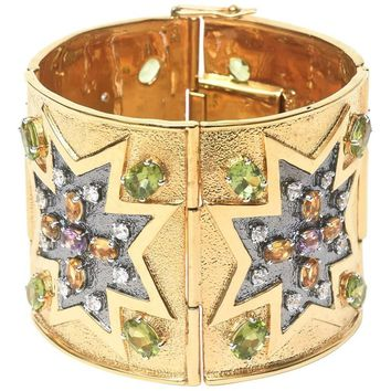 Citrine Peridot Amethyst Gold Plated Sterling Silver Cuff Bracelet