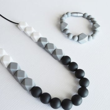 Mom Gift Set- Gray Silicone Teething Necklace-Silicone Nursing Necklace- and Sensory Play/Color Block Combo