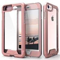 iPhone 8 Case / iPhone 7 Case, Zizo [ION Series] with FREE [iPhone 8 Screen Protector] Transparent Clear [Military Grade Drop Tested] Rose Gold/Clear