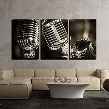 "wall26 - 3 Piece Canvas Wall Art - Closeup of Chromed Retro Recording Studio Microphones - Modern Home Decor Stretched and Framed Ready to Hang - 16""x24""x3 Panels"