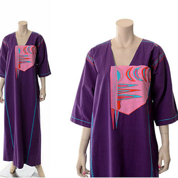 Vintage 70s Josefa Embroidered Caftan Maxi Dress 1970s Hippie Boho Mexican Designer 60s Hippy Woodstock Gypsy Festival Museum Kaftan / M-L