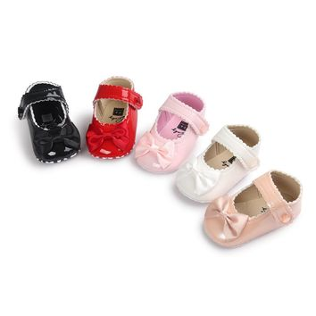 Newborn Baby Girls Princess Infant Toddler Children First Walkers Prewalkers Mary Jane Big Bow PU Leather Crib Babe Shoes 0-1T