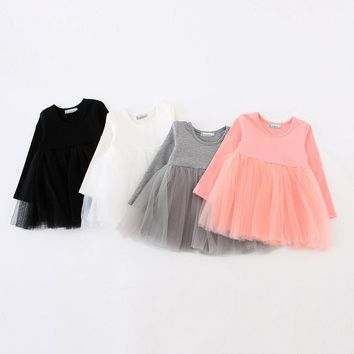 Sun Moon Kids Dresses Girls Dress Long Sleeve Baby Girls Tutu Dress Tulle Fluffy Girls Princess Dress Toddler Girls Clothing