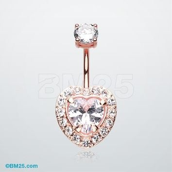 Rose Gold Brilliant Heart Sparkle Belly Button Ring