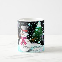 Snowman merry Christmas monogram Coffee Mug