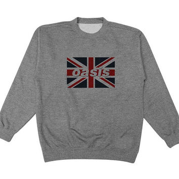 oasis flag sweater Gray Sweatshirt Crewneck Men or Women for Unisex Size with variant colour