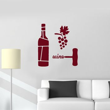 Vinyl Wall Decal Wine Grapes Corkscrew Bottle Restaurant Alcohol Bar Stickers Mural (ig5669)