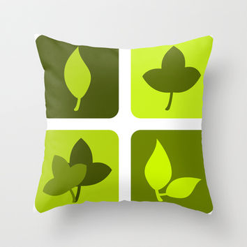 Green leaves Throw Pillow by cycreation