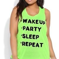 Plus Size Tunic Tank with Twist Back and Wake Up, Party, Repeat Screen
