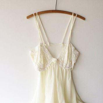Vintage Nightgown 1970s 1980s Long Nightgown Creamy White Chiffon with Lace and Pearl Embellishments Double Spaghetti Straps